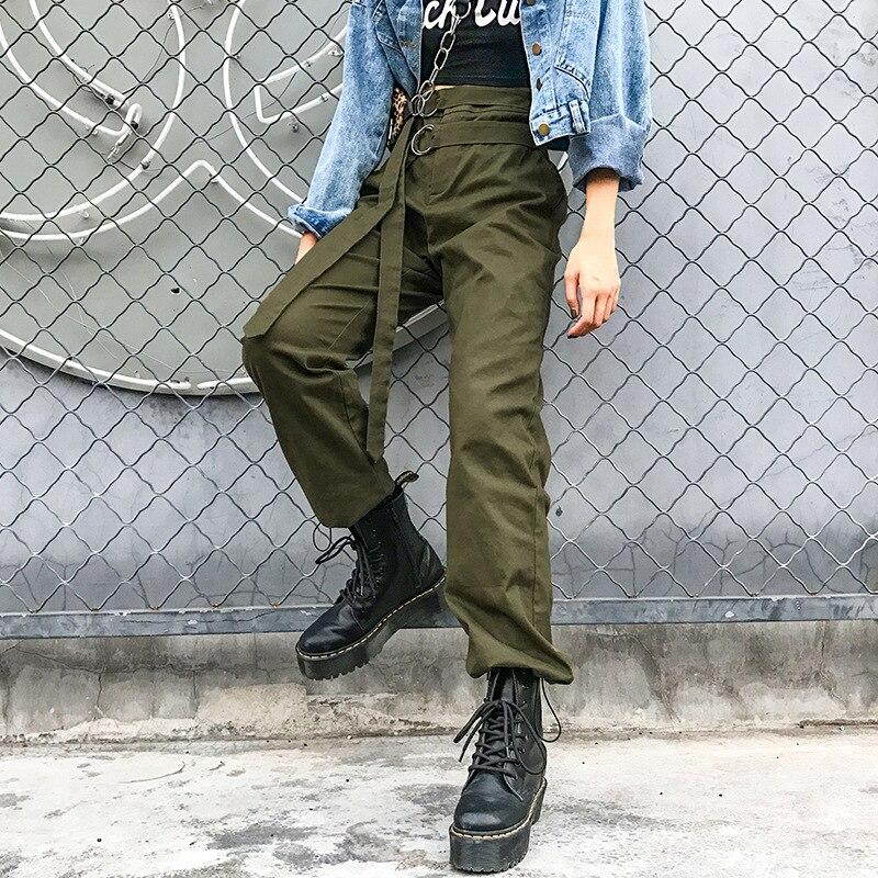 Women Casual Streetwear Cargo   Pants   Joggers High Waist Loose Female Trousers Fashion Hip Hop   Pants     Capri   LF042