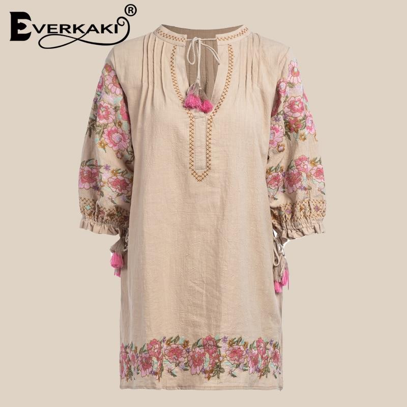 Everkaki Boho хлопок платье с вышивкой Для женщин с кисточкой Цветочный Мини-платья для Для женщин Свободные богемное платье Женский 2018 осень