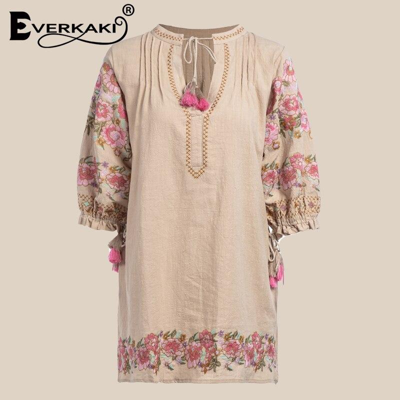 Everkaki Boho Coton Broderie Robe Femmes Avec Le Gland Floral Mini Robes Pour Femmes Lâche Bohème Robe Femelle 2018 Automne