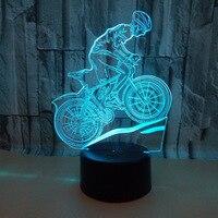 マウンテンバイク 3d ランプ 7 色タッチ 3d Led 視覚的なテーブルランプ乗馬バイクナイトテーブル近代デスクランプ