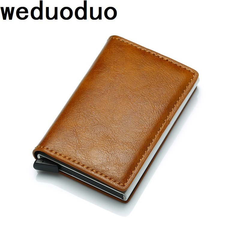 Weduoduo New Antitheft Men And Women Credit Card Holder RFID Aluminium Business Card Holder Crazy Horse PU Leather MIni Wallet hot sale 2015 harrms famous brand men s leather wallet with credit card holder in dollar price and free shipping