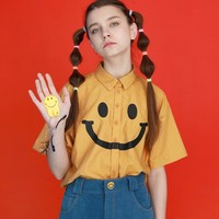 Summer New Women Blouse Cotton Funny Smiling Face Print Short Sleeve Turn Down Collar Ladies Shirts