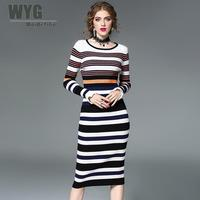 Women Long Knitted Dress Sweaters 2017 Autumn Winter Black And White Striped Ribbed Flare Full Sleeve
