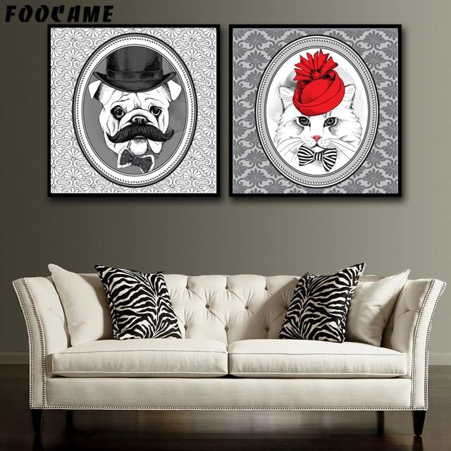 FOOCAME Kerst Leuke Hond Vintage Dier Posters en Prints Canvas ...