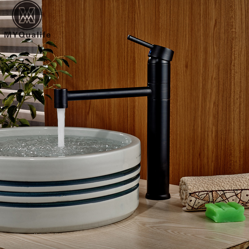 Oil Rubbed Bronze Long Neck Bathroom Vanity Sink Faucet Deck Mount Basin Mixer Tap Single Handle One Hole