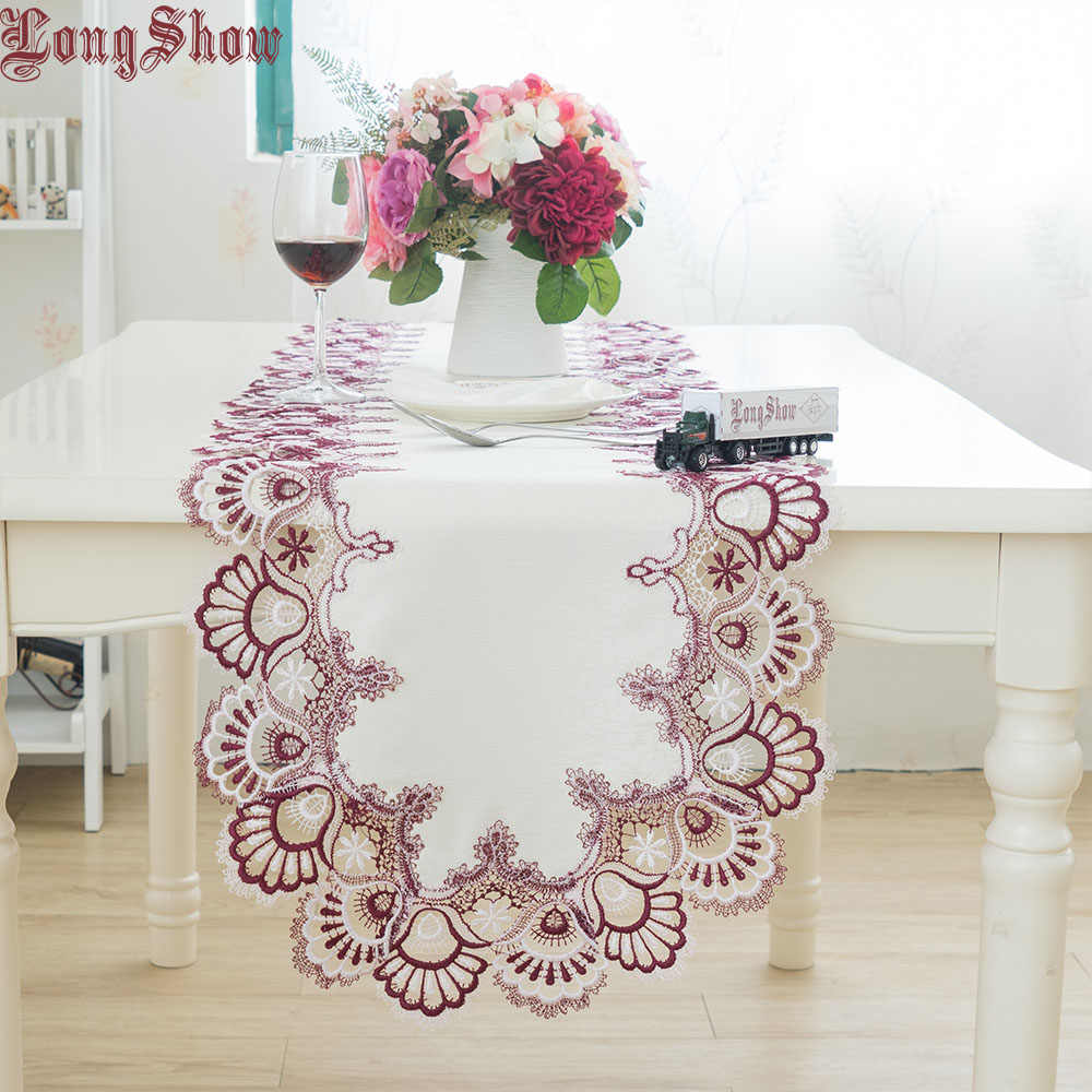 free shipping 2020 new designer handmade table decorative cloth home cover two tone lace border tablecloth oval table runner
