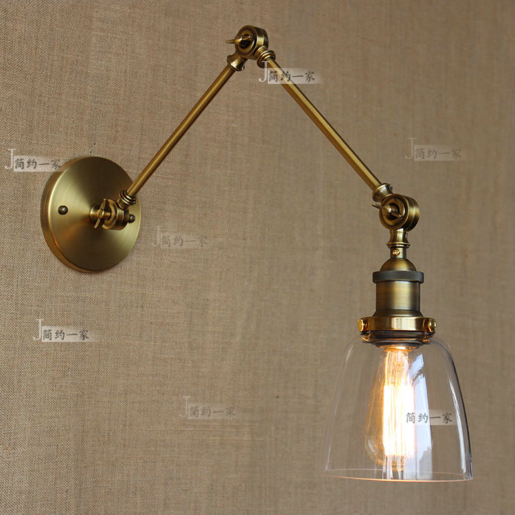 swing arm wall sconce retro vintage two swing arm wall lamp glass shade sconces 10786