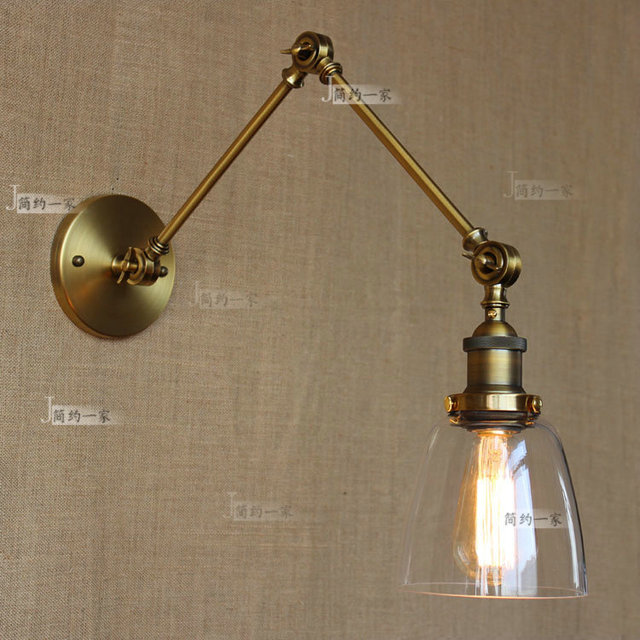 Retro Vintage Two Swing Arm Wall Lamp Gl Shade Sconces Rh Bedside Light Fixture