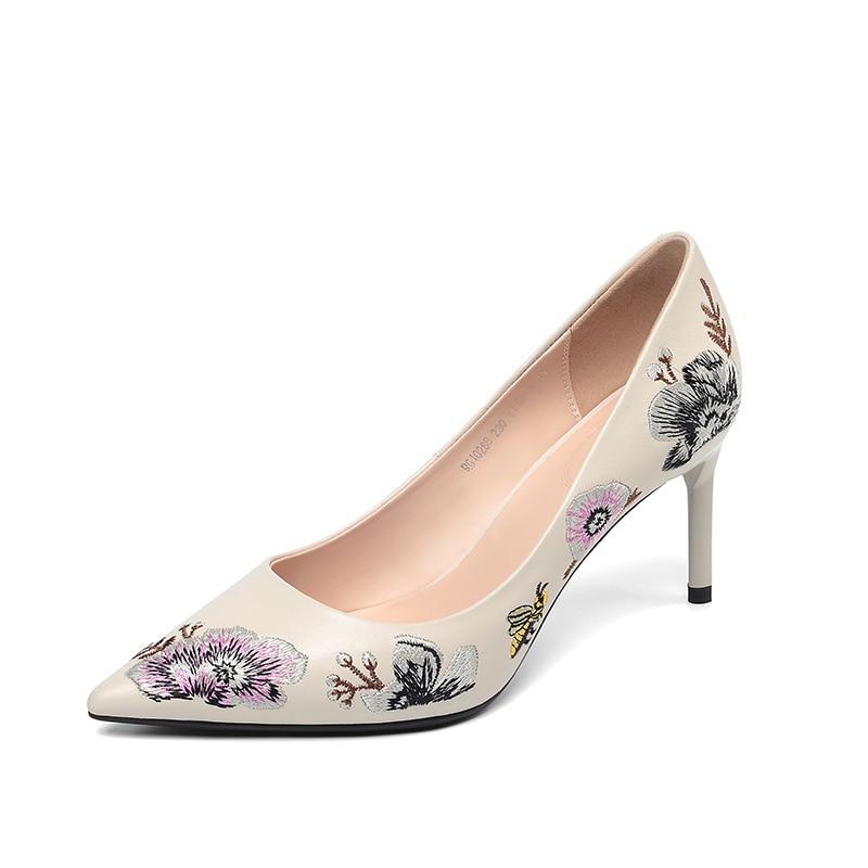 Sexy Rose Printemps noir Partie Femelle Beige Kcenid Fleur Vache Réel Chaussures Pompes Femmes En 2019 Mode Cuir Pointu Mariage Bout De Hauts rose Talons xfqwvBT5f