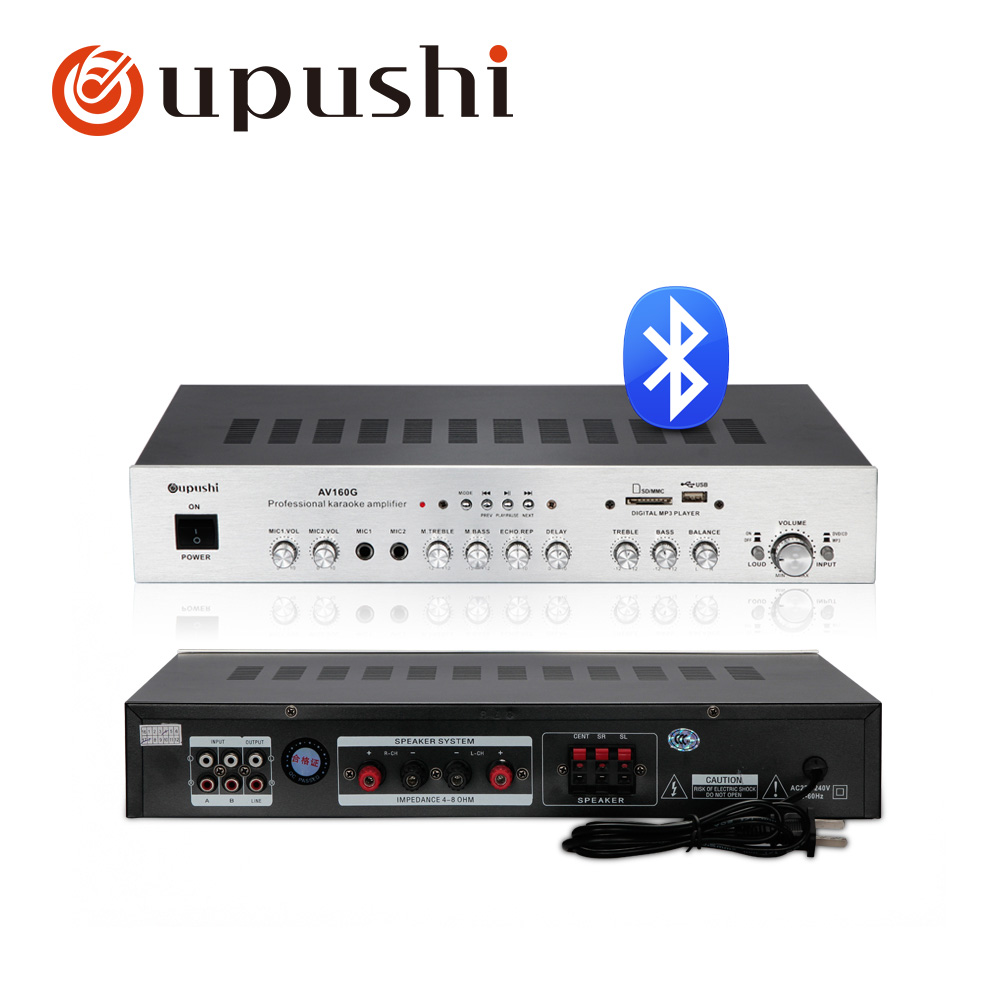 5 channel karaoke amplifier 160w bluetooth karaoke mixer amplifier professional oupushi home theatre system with usb