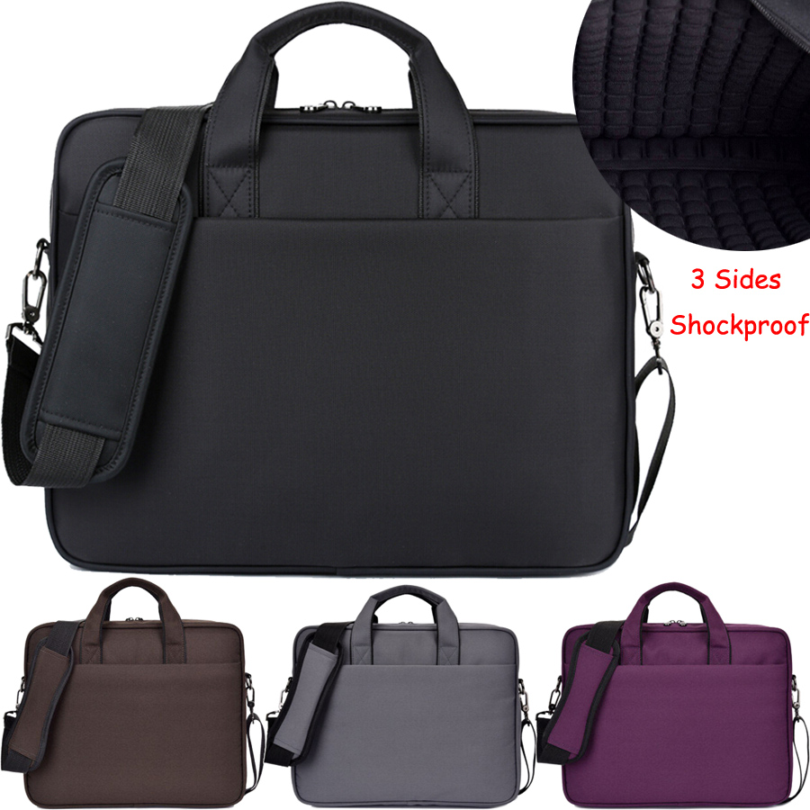 3 Sides Shockproof 14 15 15.6 Inch Waterproof Nylon Laptop Solid Notebook Tablet Bag Bags Case Messenger Shoulder for Men Women