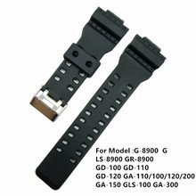 Black 16mm Replacement Silicone Strap Band Stainless Steel Clasp For GA-100/GA-300/GA-110/GA-120/G-8900 Driving Sport Watchband цена