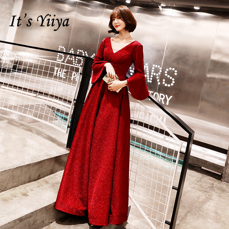 It's YiiYa Evening Dress Wine Red Flare Sleeve Vintage Formal Gown Women Fashion V-neck Long Sleeves Party Dresses E089