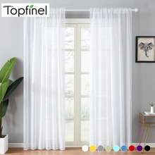 Top Finel Modern Soild White Sheer Curtains for Living Room Bedroom Kitchen Door Cafe Voile Tulle Window Plain Pleated