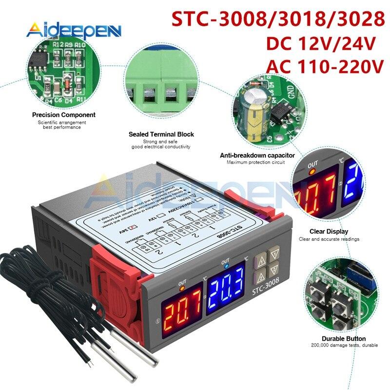 STC-3008 3018 3028 AC 110V 220V DC 12V 24V 10A Dual Digital Temperature Controller Hygrometer Heating Cooling Two Relay OutputSTC-3008 3018 3028 AC 110V 220V DC 12V 24V 10A Dual Digital Temperature Controller Hygrometer Heating Cooling Two Relay Output