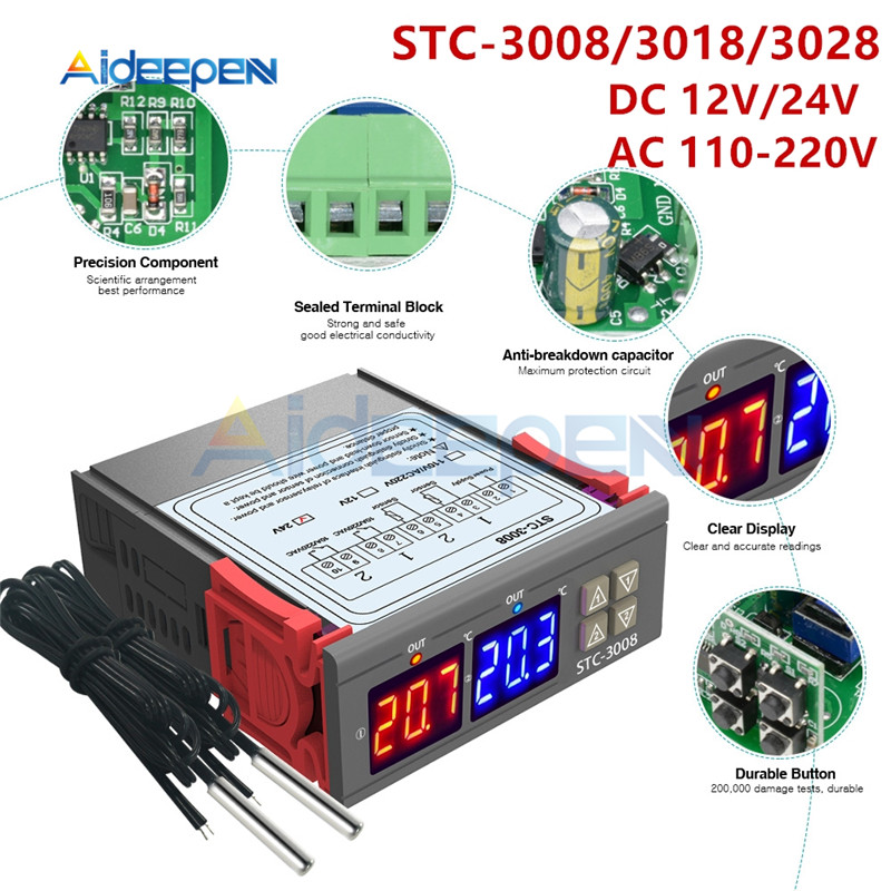STC-3008 3018 3028 AC 110V <font><b>220V</b></font> DC 12V 24V <font><b>10A</b></font> Dual Digital <font><b>Temperature</b></font> <font><b>Controller</b></font> Hygrometer Heating Cooling Two Relay Output image