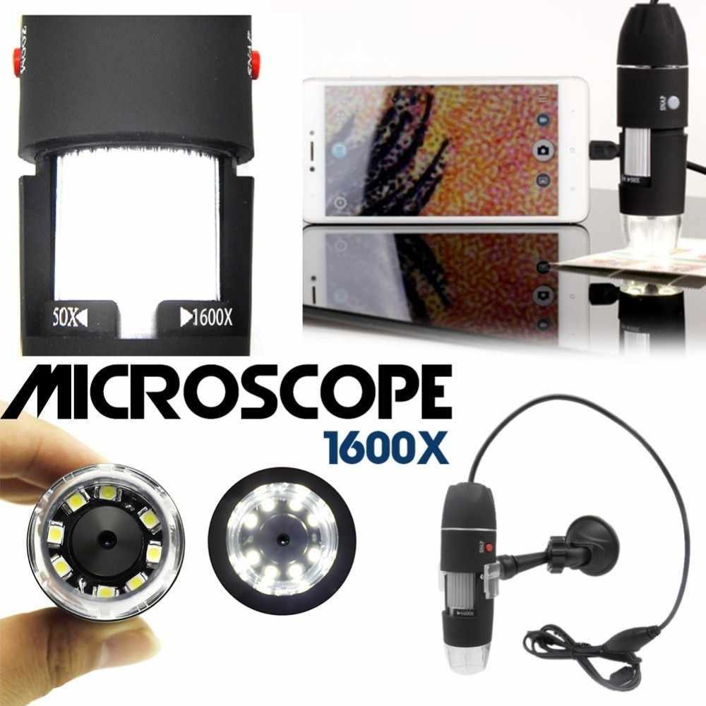1600X8 LED USB กล้องจุลทรรศน์กล้องจุลทรรศน์ฐานโลหะแบบพกพาอิเล็กทรอนิกส์สเตอริโอแหนบการขยาย