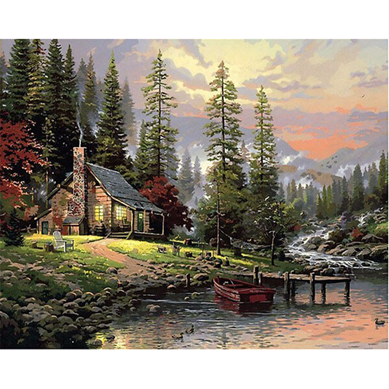 House Near The Lake Hand Made Paint High Quality Canvas Beautiful Painting By Numbers Surprise Gift Great Accomplishment