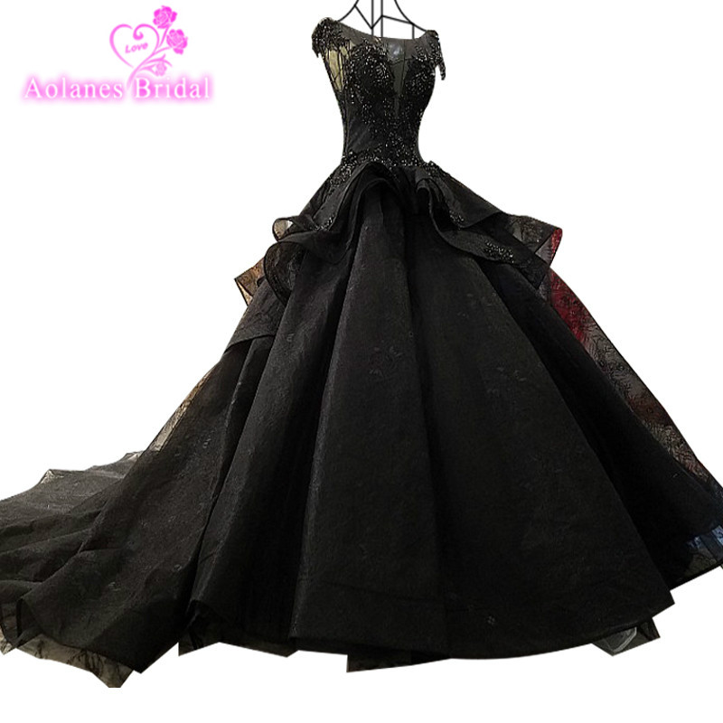Black Fashion Sexy Luxury Wedding Dresses 2018 Ruffles Beading Tulle Vintage Lace Wedding Bridal Gown Vestido De Noiva