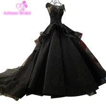 Black Fashion Sexy Luxury Wedding Dresses 2018 Ruffles Beading Tulle Vintage Lace Bridal Gown Vestido De Noiva
