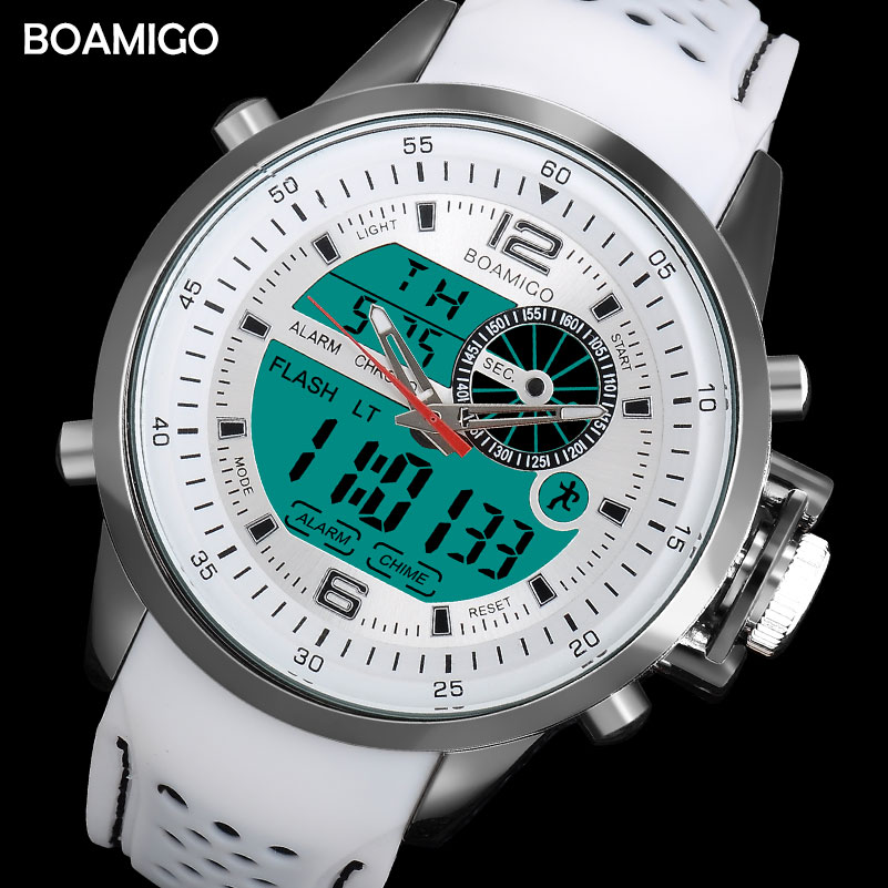 BOAMIGO brand men sports watches dual time digital watch rubber analog quartz watch white chronograph wristwatches reloj hombre
