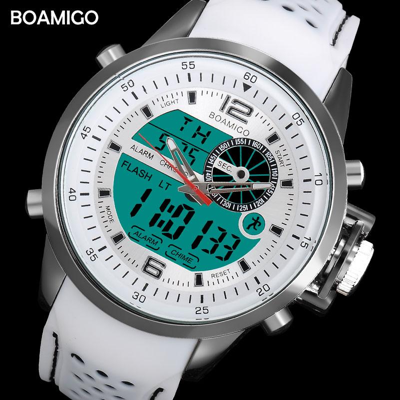 BOAMIGO marke männer sport uhren dual time digital uhr gummi analog quarz uhr weiß chronograph armbanduhren reloj hombre