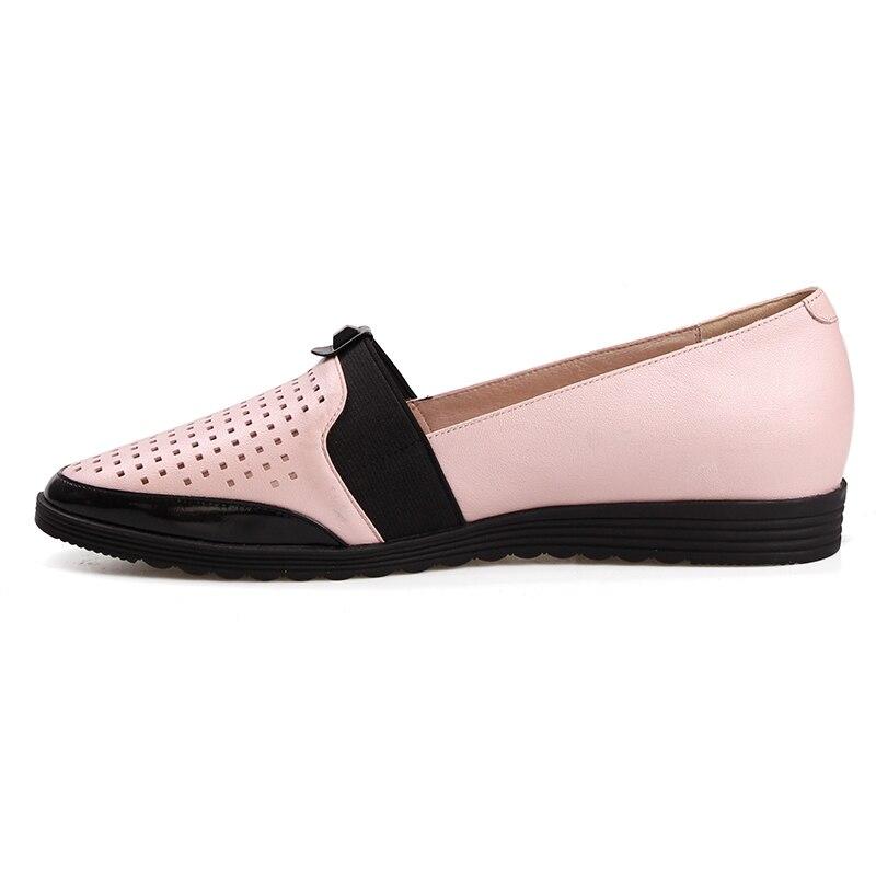 Véritable Nouvelle En Femmes Cuir Rond Rose 2018 Découpe Automne Casual Chaussures Semelle Wetkiss Plate Appartements Mode Bout 7qBTxvRw