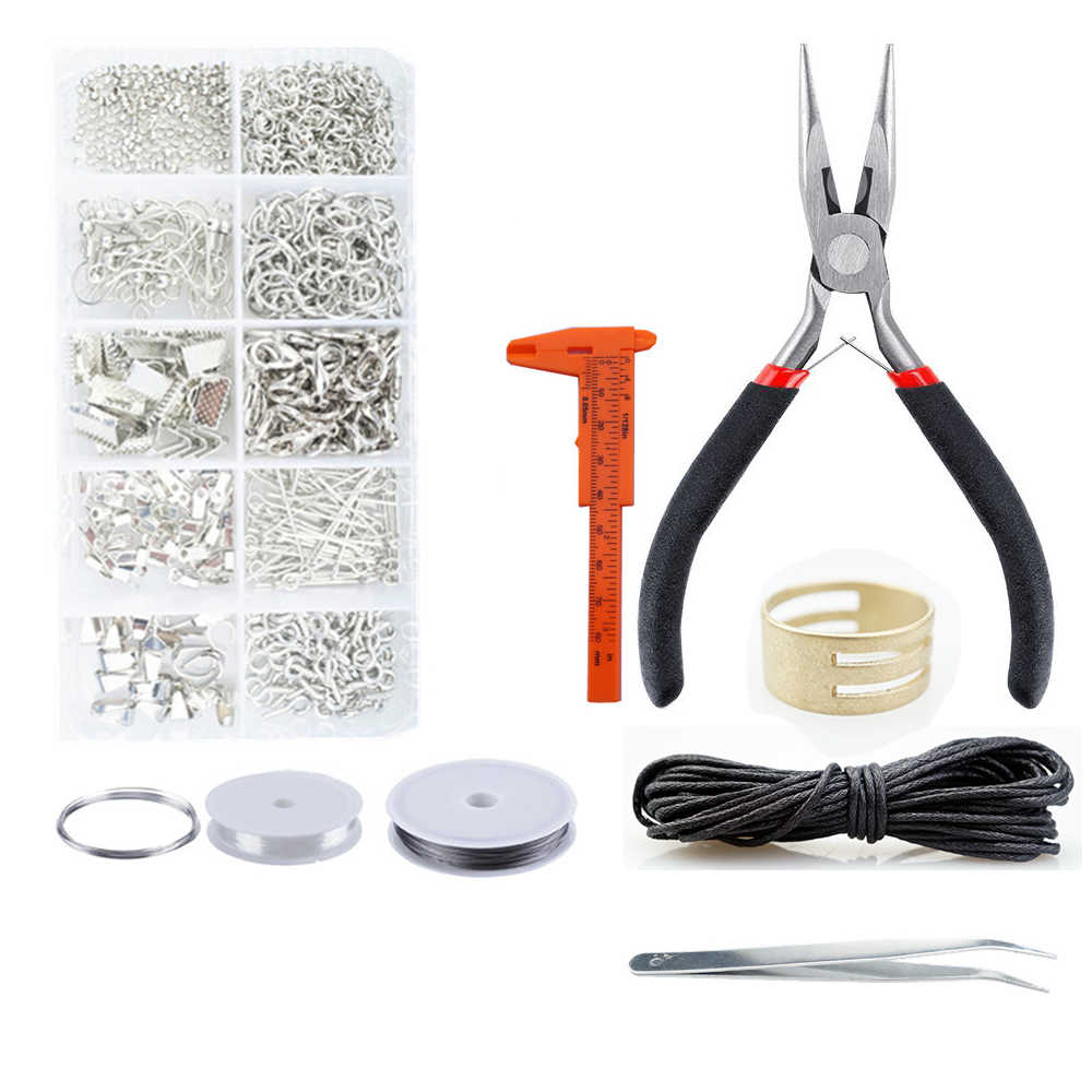 Jewelry Findings Set Jewelry Making Kit Starter Kit Jewelry Beading Making & Repair Tools Kit Pliers Silver Beads Wire HK047