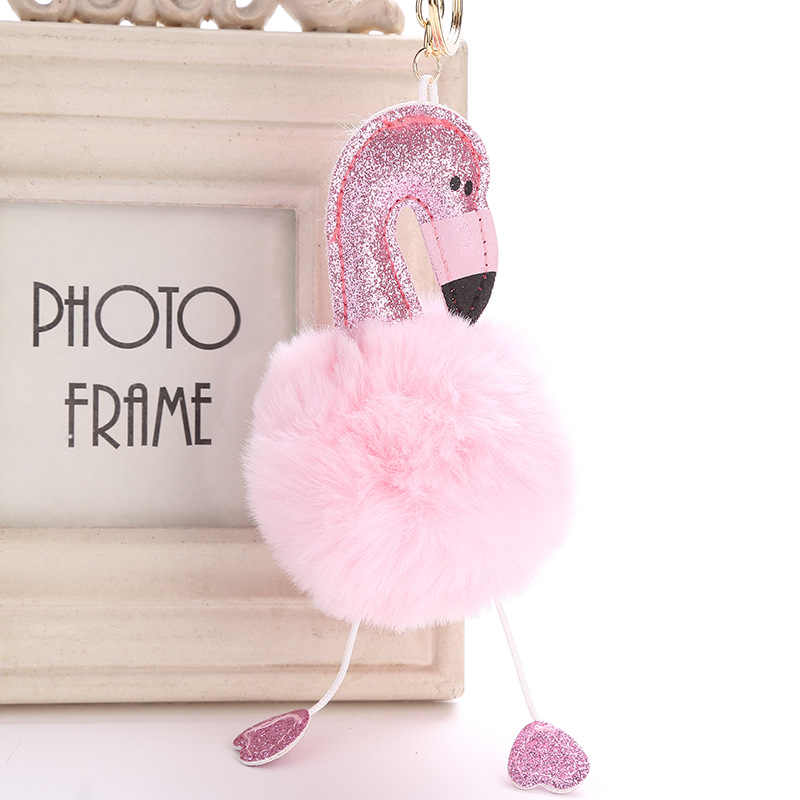 المرأة حقيبة الوردي فلامنغو مفتاح سلسلة حلقة نيس محفظة المفاتيح مفتاح حامل حقيبة يد سحرية سيارة قلادة اكسسوارات هدية 6C0019