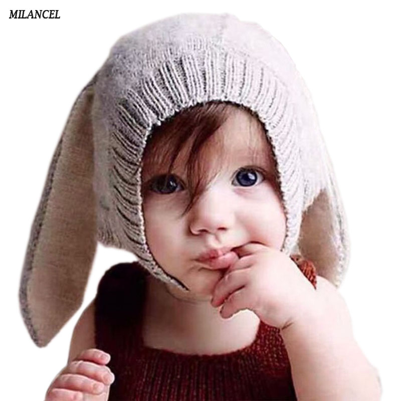 2016 New Baby Rabbit Ears Knitted Hat Infant Toddler Winter Cap For Children 3-24M Girl Boy Accessories Photography Props gorros de baño con flores