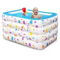 Большой надписью надувной бассейн для малышей Экологичные ПВХ складной Дети водные игры бассейны