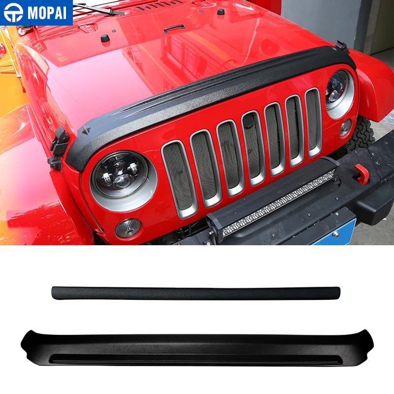 MOPAI ABS Auto Vorne Hinten Grille Motor Sand Stein Block Wind Air Deflektor Schild Abdeckung Aufkleber für Jeep Wrangler JK 2007 2017