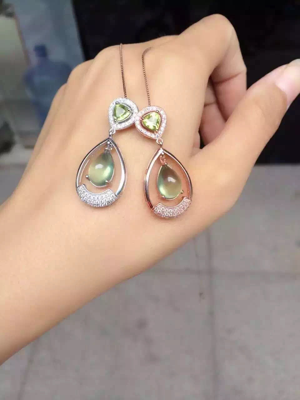 natural green prehnite pendant S925 silver Natural red garnet Pendant Necklace trendy big water drop women party fine jewelrynatural green prehnite pendant S925 silver Natural red garnet Pendant Necklace trendy big water drop women party fine jewelry