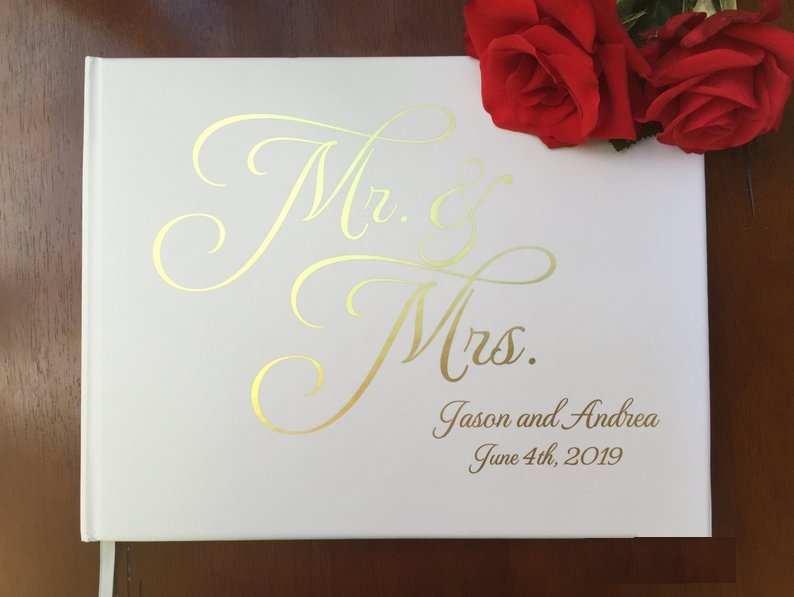 Personalized Mr Mrs Wedding Journal Unique Wedding Guest Book Ideas Foil Gold Calligraphy Engagement Guestbook Photo Books