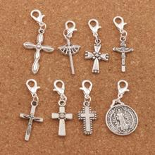 160ps 8styles Antique silver Saint Benedict Medal Crucifix Cross Clasp European Lobster Trigger Clip On Charm Beads CM50