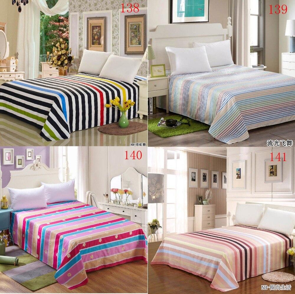 arc en rayures simples lit double drap de lit en coton plat feuilles twin reine literie linge de lit draps 160 230 cm 230 x 250 cm dans feuille de maison