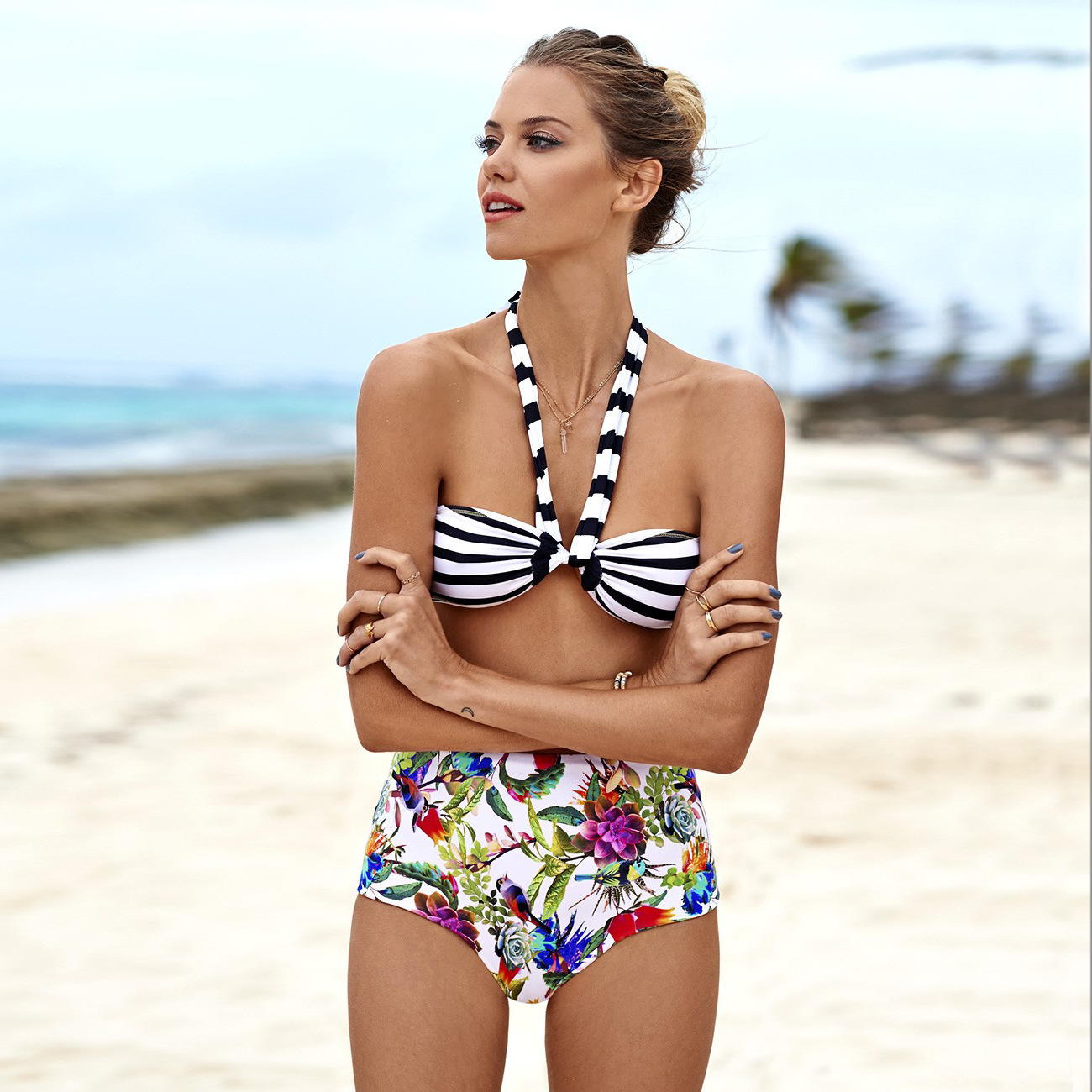 Summer Style Bikini 2016 New Fashion Print Strapless Swimwear Women High Waist Swimsuit Sexy