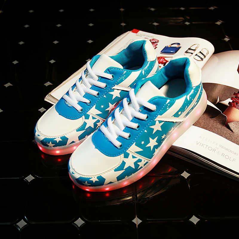 7 ipupasชายหญิงเด็กแฟชั่นLedส่องสว่างรองเท้าผ้าใบที่มีคุณภาพดีนำสว่างขึ้นรองเท้าusbที่มีสีสันคนรักs hineเรืองแสงรองเท้าผ้าใบ