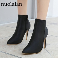 10.5CM Black High Heels Woman Boots Dress Punk Sock Boot Women Winter Shoes Ladies Pointed Toe Botas Womens Spring Autumn Boots