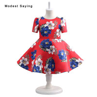 Christmas Red Floral Printed Short Sleeve Flower Girl Dresses 2017 Ball Gown Knee Length Pageant Gown for Little Girls Kids Baby