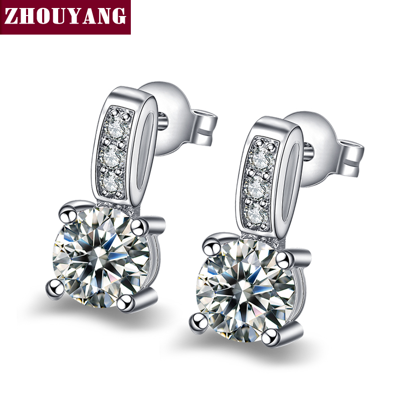 b5d16624cd63f ZHOUYANG Classic Design Silver Color Small Size Classic Cubic Zirconia Stud  Earrings For Elegant Women Top Quality ZYE843