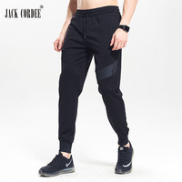 JACK CORDEE Spring Casual Man Pants Zipper Pocket Sweatpants Man High Elastic Long Pants Black Waistband