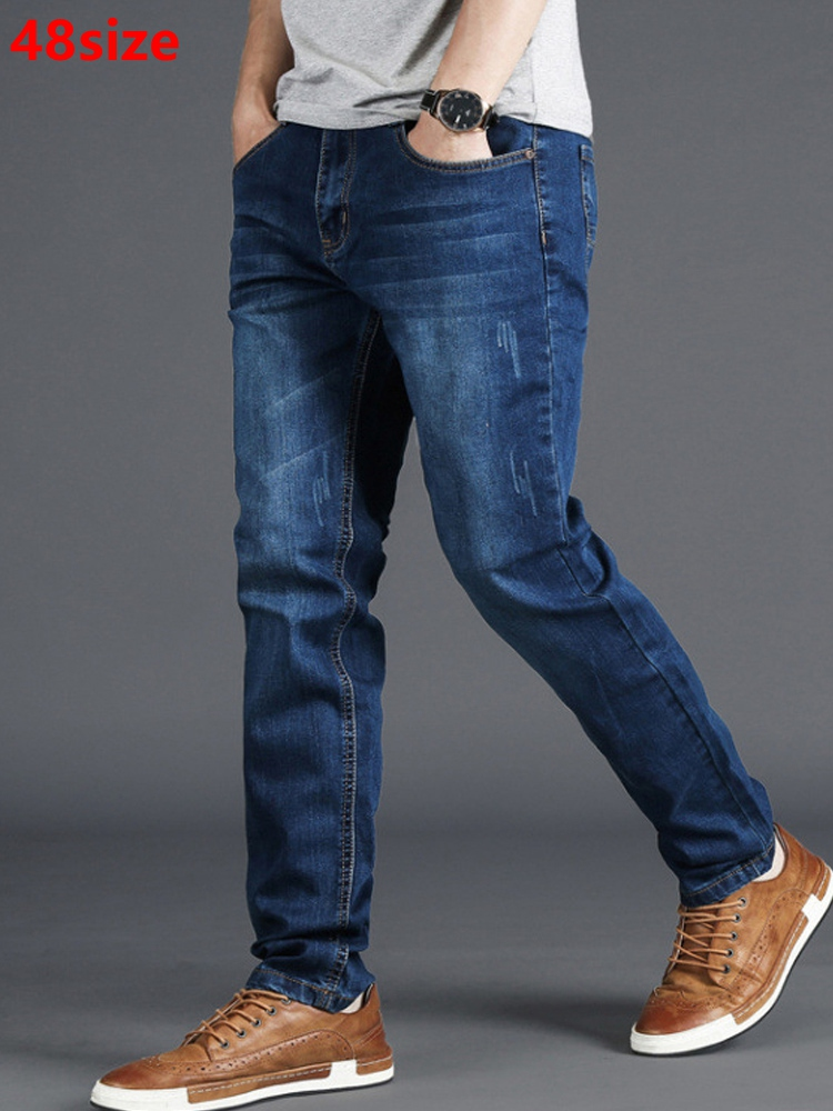 Spring   jeans   men's stretch blue men's high waist 130kg plus size XL oversized people slim long pants 48 46 44 42 40 38 36