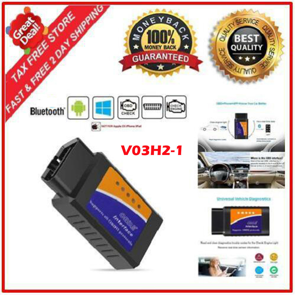 V03H2 1 Vehicle Car error Diagnostic Scanner OBDII Bluetooth 2.0 Code Readers HM 16pin OBDII standard for Android Windows