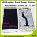 1 unids g7 más pantalla táctil digitalizador pantalla con marco blanco 1920x1080 5.5 pulgadas teléfono lcd de montaje para huawei g8