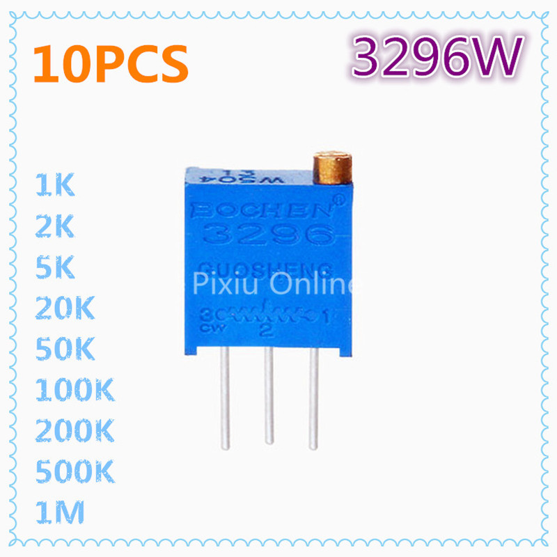 10Pcs ST176 3296W Multiturn Trimmer Potentiometer 1K/2K/5K/10K/20K/50K/100K/200K/500K/1M Variable Resistor Free Shipping