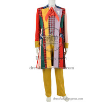 Who Is The Doctor Cosplay Costume The Sixth Doctor Colin Baker Costume Grid Trench Coat Halloween Male Version Adult Party