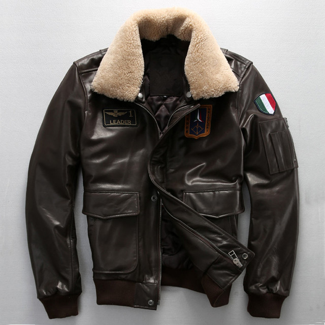 69285382cd1 fur collar flight jacket black genuine leather jacket men pilot jacket  brown men s leather coat with