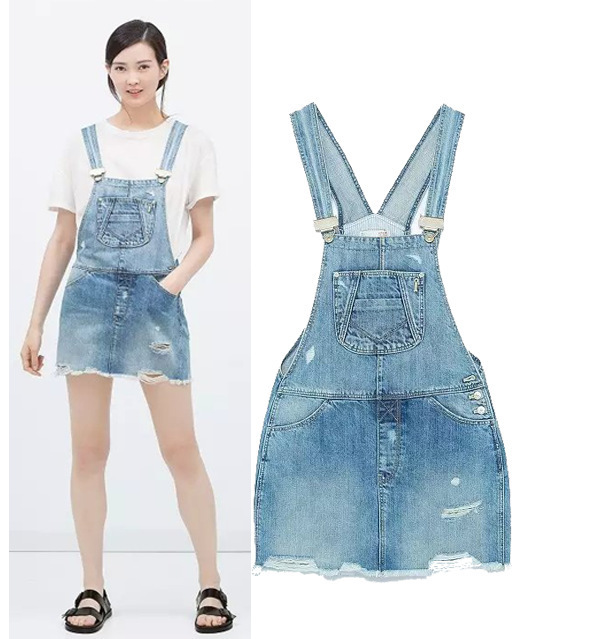 4c0327b026e New Design High Street Fashion ripped hole denim skirts casual washed pockets  jeans skirt romper overall rough bottom