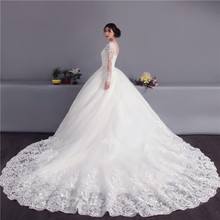 kejiadian cathedral train wedding dresses long sleeve